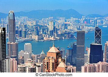 Hong Kong aerial view panorama with urban skyscrapers and...
