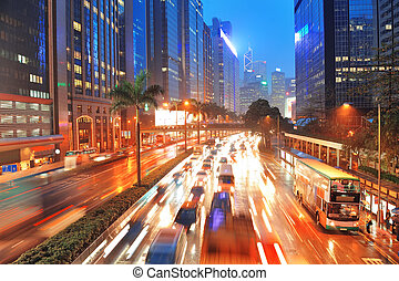 Hong Kong street view - Hong Kong street with busy traffic...
