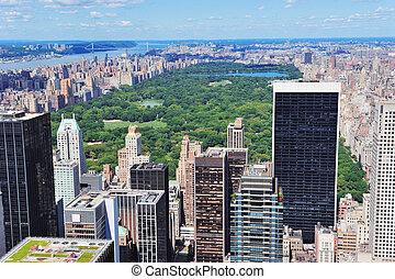 New York City Manhattan midtown aerial panorama view with...