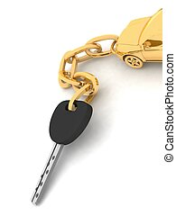Gold pendant with keys - Gold pendant with keys