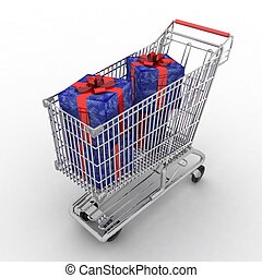 shopping cart full of gifts on white background