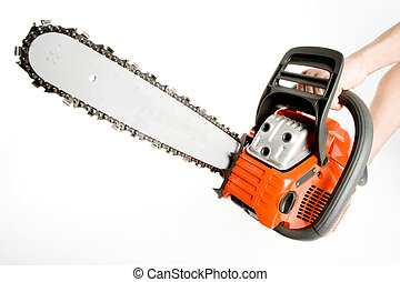Chainsaw - Holding A new chainsaw isolated