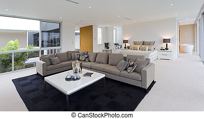 Bedroom and living room - Luxurious bedroom with living area...