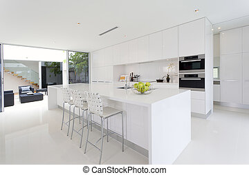 Stylish kitchen - Luxurious kitchen with stainless steel...