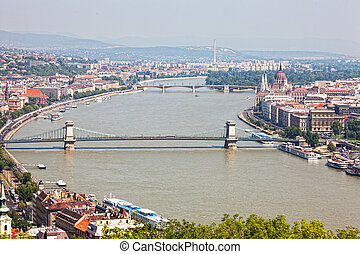 View on the bridges of Danube and the Hungary Parliament, Budapest