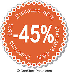 Discount forty five percent - vector illustration stickers...