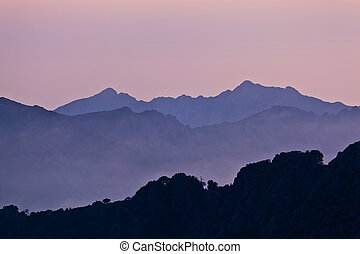 Mountains landscape, sunset in Corsica, France