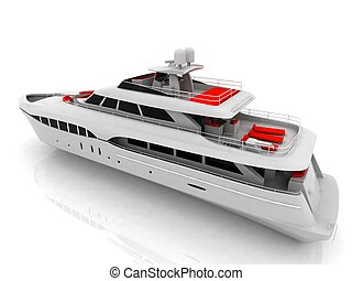 White pleasure yacht isolated on a white background
