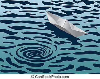 Risk management - Paper boat floating near a whirlpool