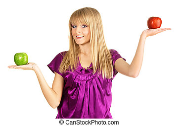 Beautiful girl holding two fresh apples - Beautiful girl...