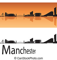 Manchester skyline in orange background in editable vector...