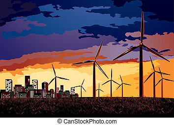 Vector Electrical windmill over evening cityscape scene