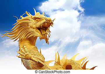Chinese dragons statue with blue sky