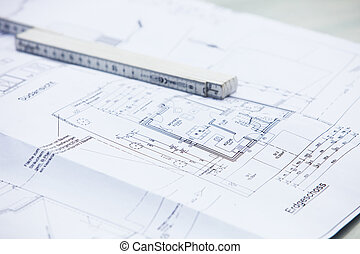 Architectural drawings and ruler - Architectural drawings...