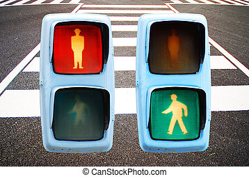 pedestrian traffic lights red and green walk sign
