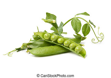 pod of peas on white background