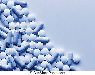 Pills Medicine Background - Pharmaceutical pills scattered...