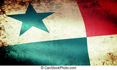 Panama Flag Waving, grunge look