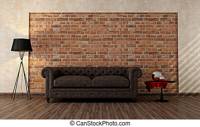 vintage livingroom with classic couch against brick wall -...
