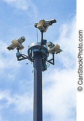 Security cameras - Three outside security cameras cover...