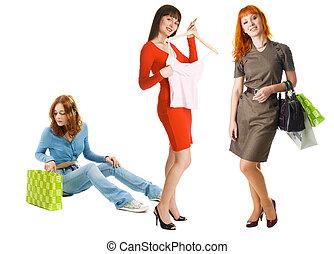 Three girls shopping - Three young beautiful girls shopping