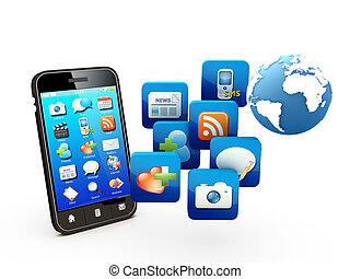 Smartphone with cloud of application icons Note: All Devices...