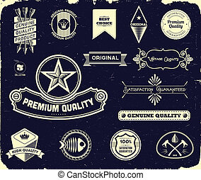 Vintage labels on the black. Collection 3 - Set of vintage...