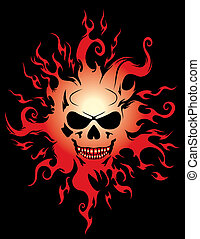 Evil burning Halloween symbol. Illustration on black...