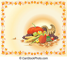 Autumn Thanksgiving Template - Illustration composition for...