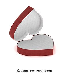 Gift box in the form of heart. 3D image.