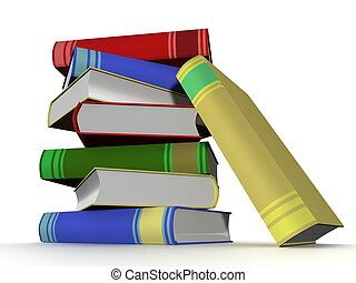 Pile of books 3D the isolated image