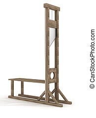 Guillotine on a white background 3D image