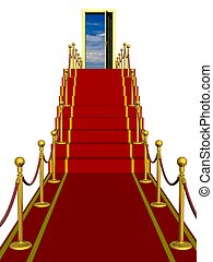 Red carpet path on a ladder with an open door against clouds