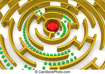 The gold labyrinth with reflection 3D image