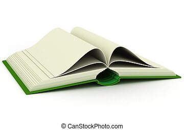 Opening book on a white background 3D image
