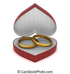 Gift box with gold rings in the form of heart. 3D image.