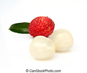 Close up of fresh litchi fruit isolated on white background
