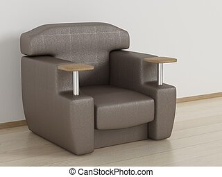 Leather armchair in a room. 3D image.