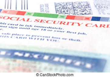 Social security - Blue social security card macro shot