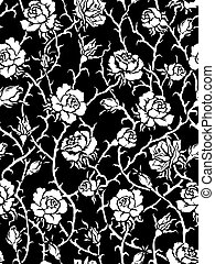 Black roses Seamless pattern