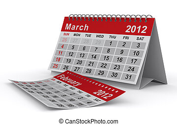 2012 year calendar March Isolated 3D image
