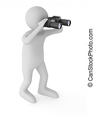 man with binocular on white background Isolated 3d image