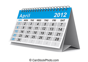 2012 year calendar April Isolated 3D image