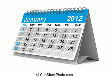 2012 year calendar January Isolated 3D image