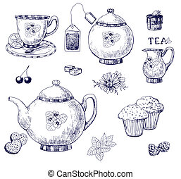 Tea set, hand-drawn illustration