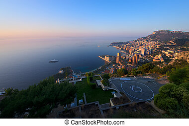 Monte Carlo, Monaco at sunrise - aerial view of Monte Carlo,...