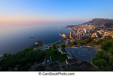 Monte Carlo, Monaco at sunrise - aerial view of Monte Carlo,...