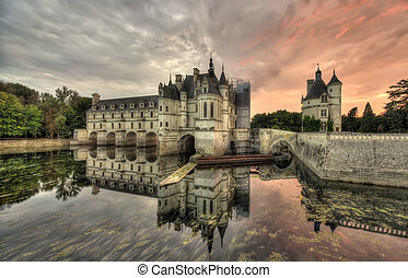 Chenonceau Castle, France - wide dark scene of Chenonceau...