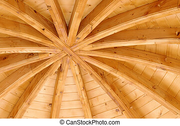 wooden ceiling of a traditional church in Moldavia, Romania