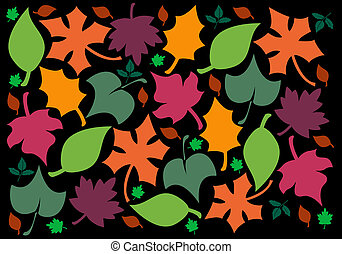 Autumn Leaves - illustration of a variety of colorful autumn...